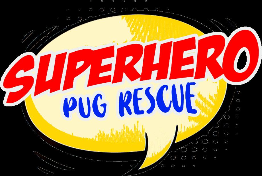 Superhero Pug Rescue speech-bubble logo